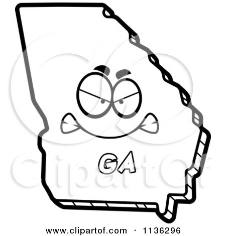 450x470 Cartoon Clipart Of An Outlined Mad Georgia State Character