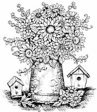 332x381 Northwoods Rubber Stamp Gerbera Daisy Vase Birdhouses