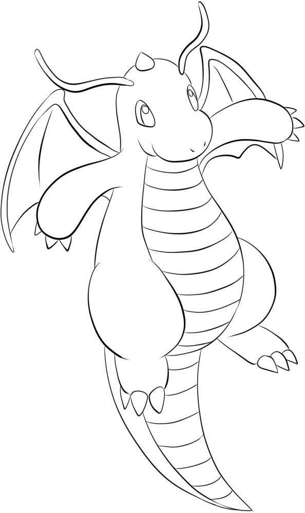 594x1000 Dragonite Lineart