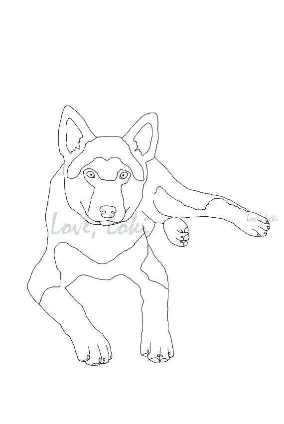 570x851 German Shepherd Coloring Pages