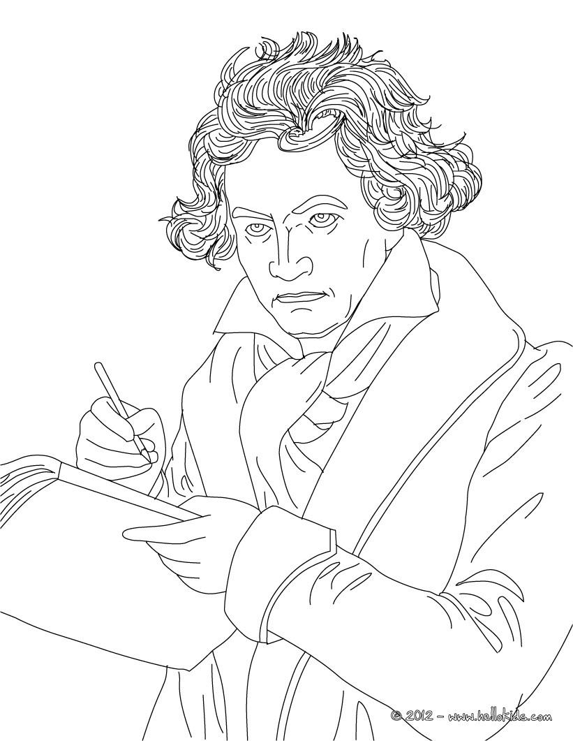 821x1061 Ludwig Von Beethoven Famous German Composer Coloring Pages