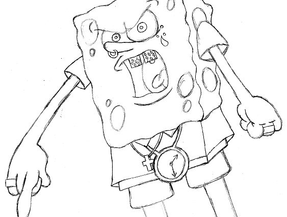 563x425 Ghetto Spongebob Coloring Pages Ghetto Spongebob Drawing