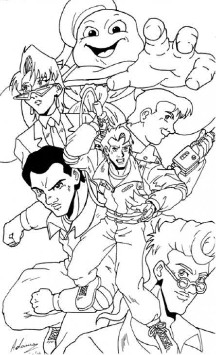 444x730 Epic Ghostbusters Coloring Page With Stay Puft Fun Coloring