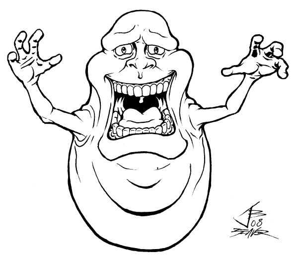 600x525 Ghostbusters Coloring Pages To Print Scary Slimer Coloring Page
