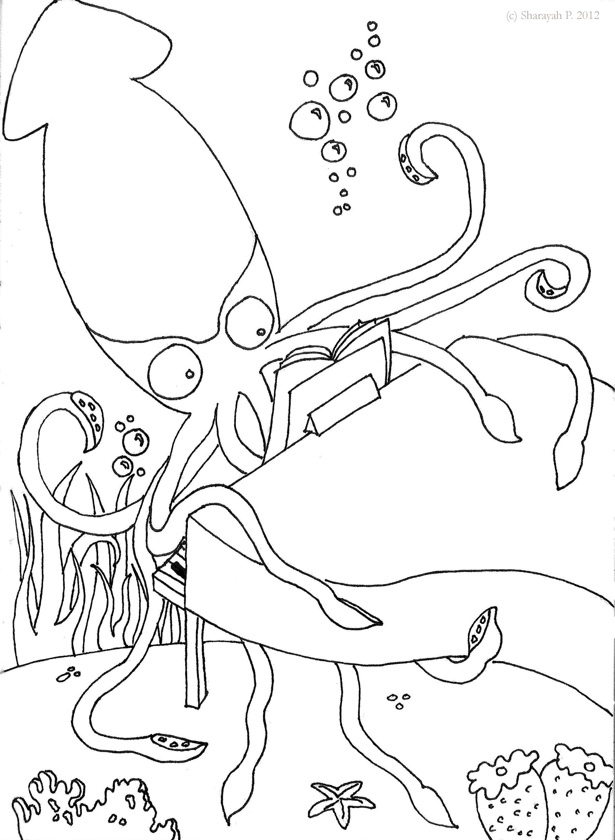2344x3199 Instructive Giant Squid Coloring Page Colossal Drawing