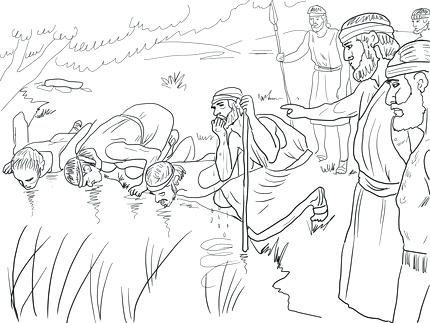 430x323 Gideon Coloring Page Selects His Army Of Men