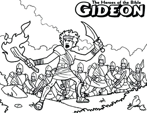 600x464 Gideon Coloring Pages The Bible Heroes Coloring Page Story