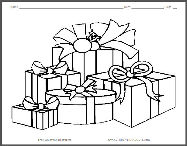 615x478 Wrapped Christmas Gifts Coloring Page Student Handouts