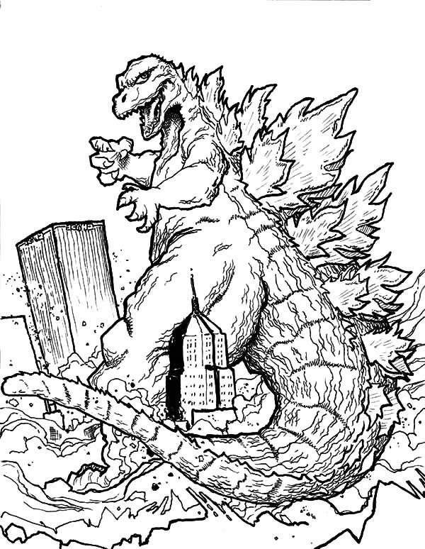 600x774 Godzilla, Godzilla Destroying Town Coloring Pages Lineart