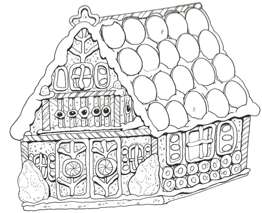 1024x832 Gingerbread House Coloring Pages For Christmas