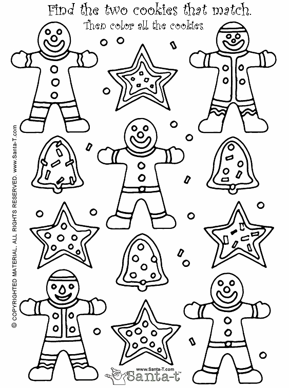 563x756 Christmas Gingerbread Cookie Match Activity And Coloring Page