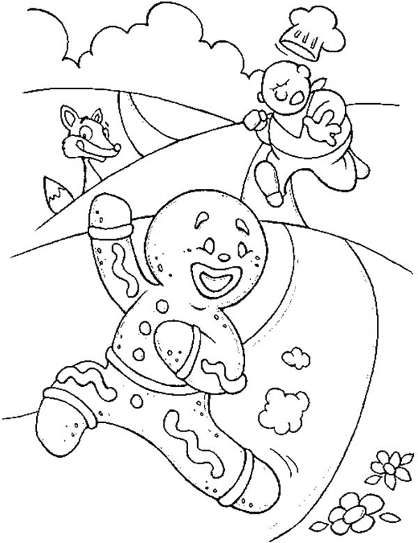 600x779 Coloring Pages Gingerbread Man Gingerbread Men Running Away