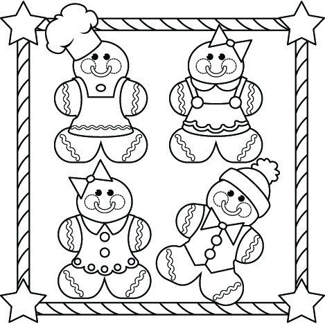 469x468 Gingerbread Family Coloring Page