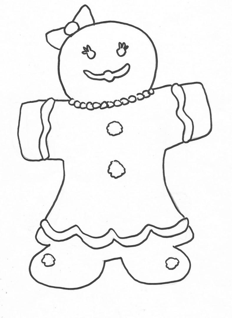 788x1080 Gingerbread Girl Coloring Page Just Colorings Prepossessing Pages
