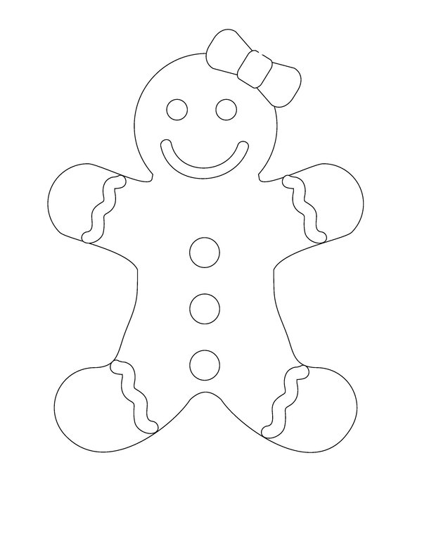 600x779 Gingerbread Man Coloring Pages