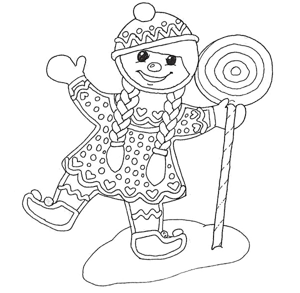 600x586 Gingerbread Girl Coloring Page