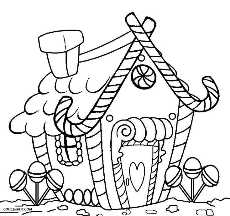 734x690 Gingerbread House Candy Coloring Sheets