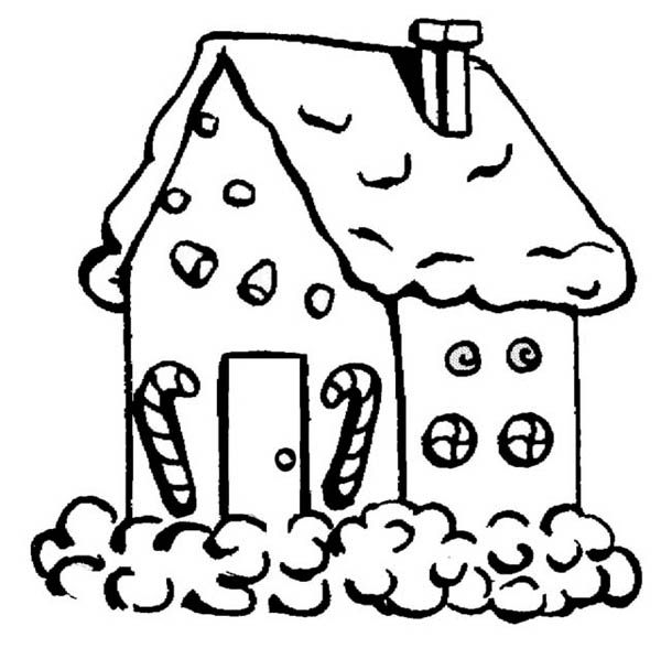 600x588 Gingerbread House With Candy Cane In Front Coloring Page