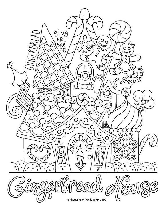 570x738 Gingerbread House Christmas Coloring Page Kids Holiday