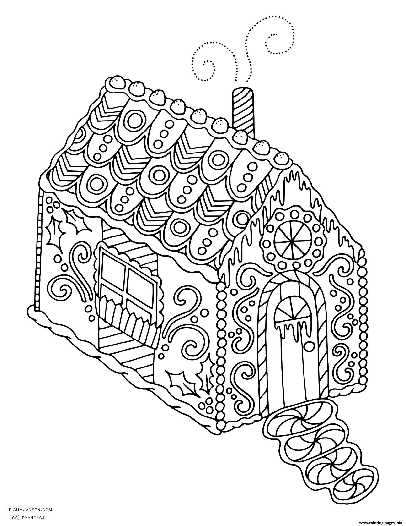 1700x2200 Gingerbread House Christmas Adult Coloring Pages Printable