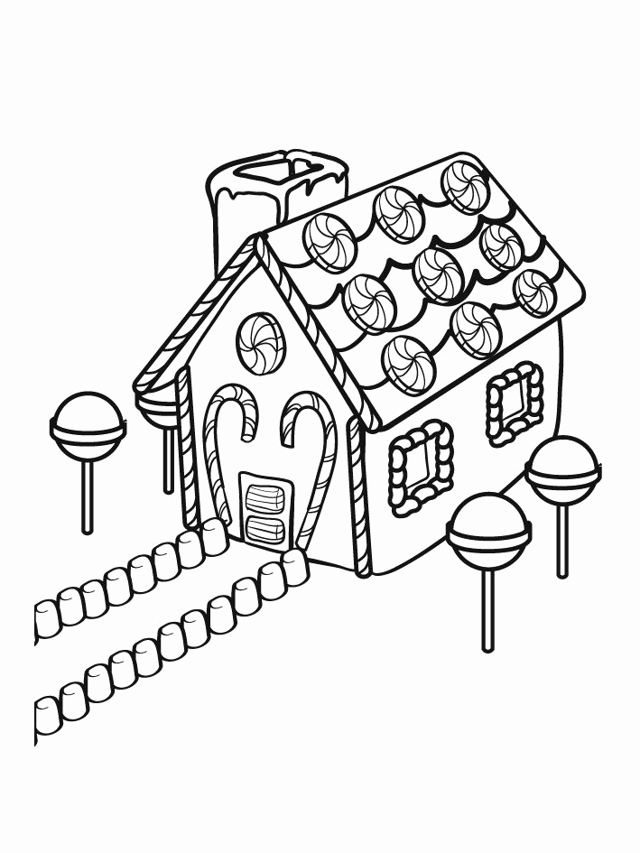709x945 Gingerbread House Christmas Coloring Pages Festival Collections