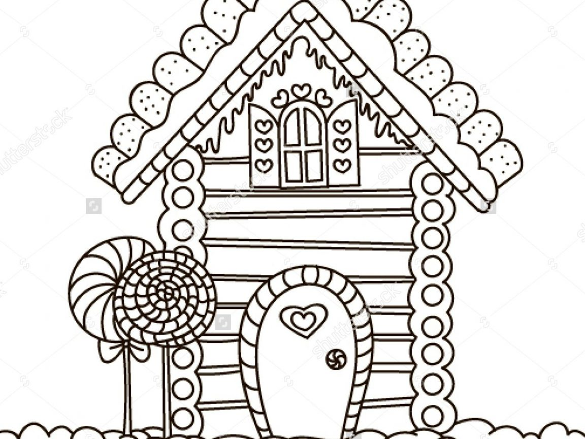 1152x864 Gingerbread House Coloring Page Stock Vector Malyaka Pages