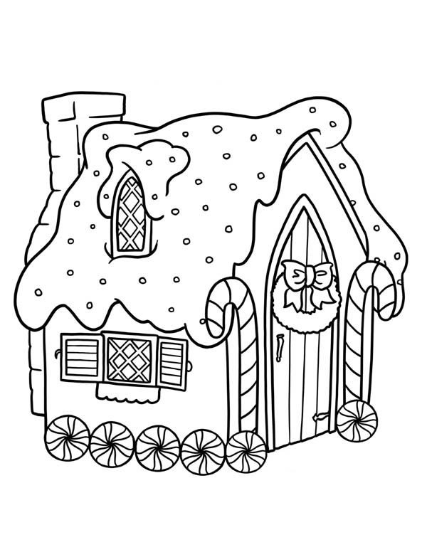 600x776 Gingerbread House With Wheel Coloring Page