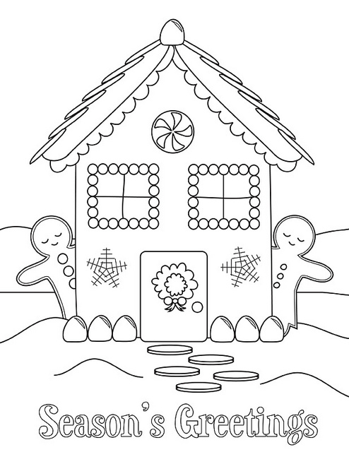 494x640 Gingerbread House Printable Coloring Sheet Crafts, Christmas Art