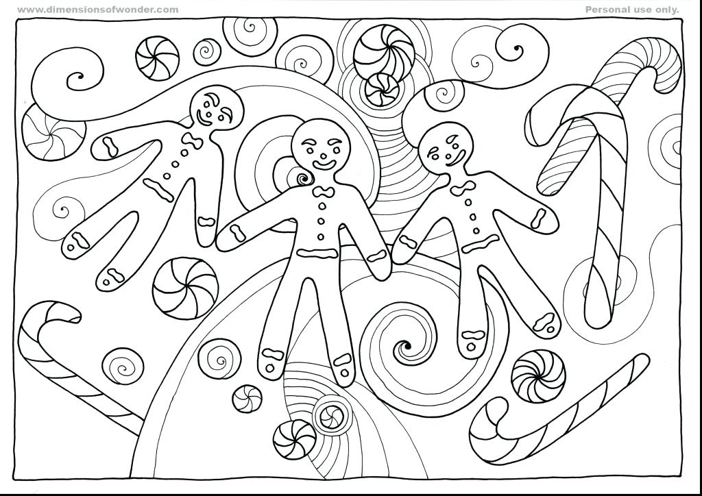 1024x724 Coloring Pages Gingerbread Man Download Large Image Christmas