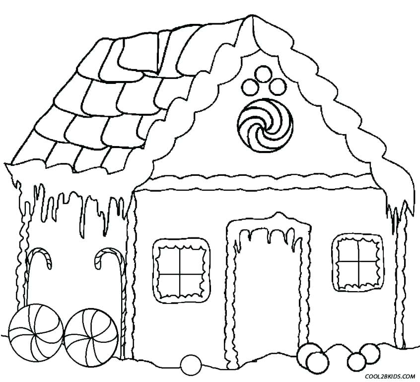 846x769 Gingerbread House Color Page Gingerbread Houses Coloring Pages