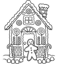 236x261 Gingerbread House Color Sheet Free Download