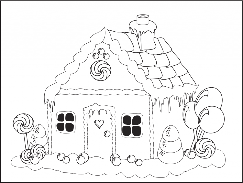1024x769 Gingerbread House Coloring Pages
