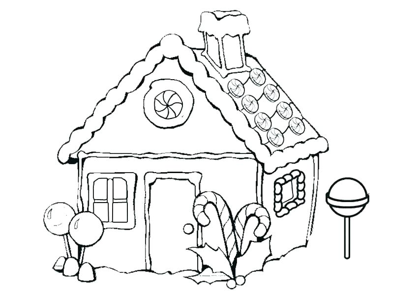 850x600 Gingerbread House Coloring Page