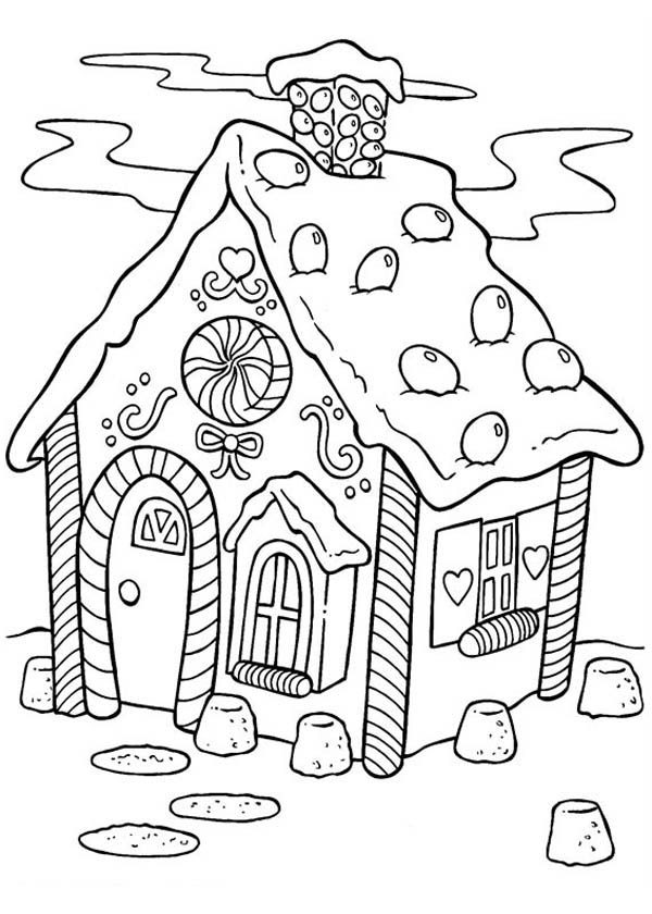 600x840 Delicious Gingerbread House Coloring Page