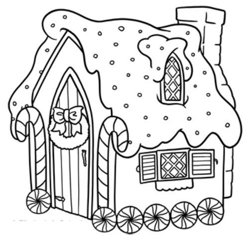500x479 Free Gingerbread House Coloring Pages For Kids