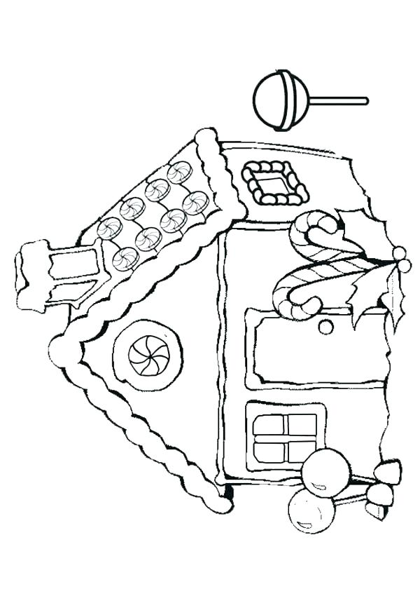 600x850 Gingerbread House Color Page Gingerbread House Coloring Page