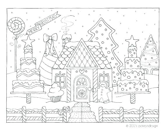 570x441 Gingerbread House Color Page Printable Gingerbread House Coloring