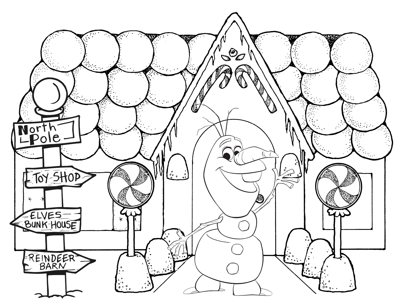 1600x1200 Gingerbread House Coloring Page
