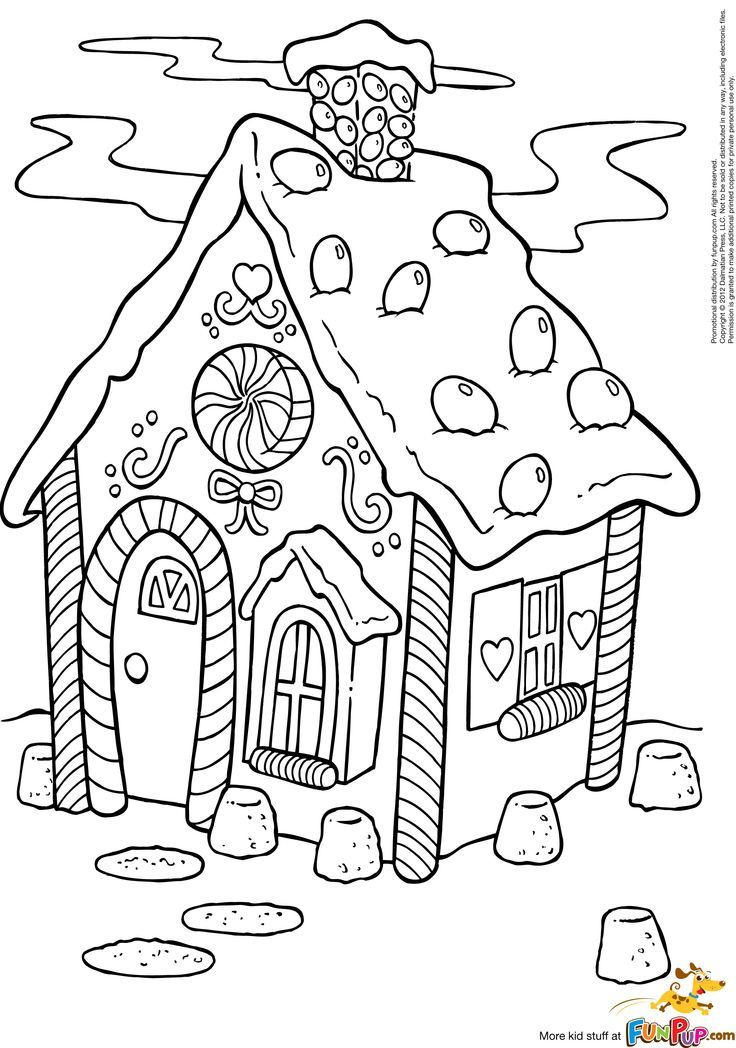 736x1048 Gingerbread House Coloring Pages For Christmas