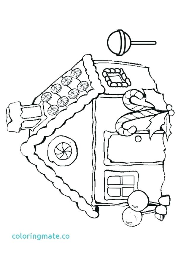 600x850 House Coloring Pages Printable Easy Gingerbread House Coloring
