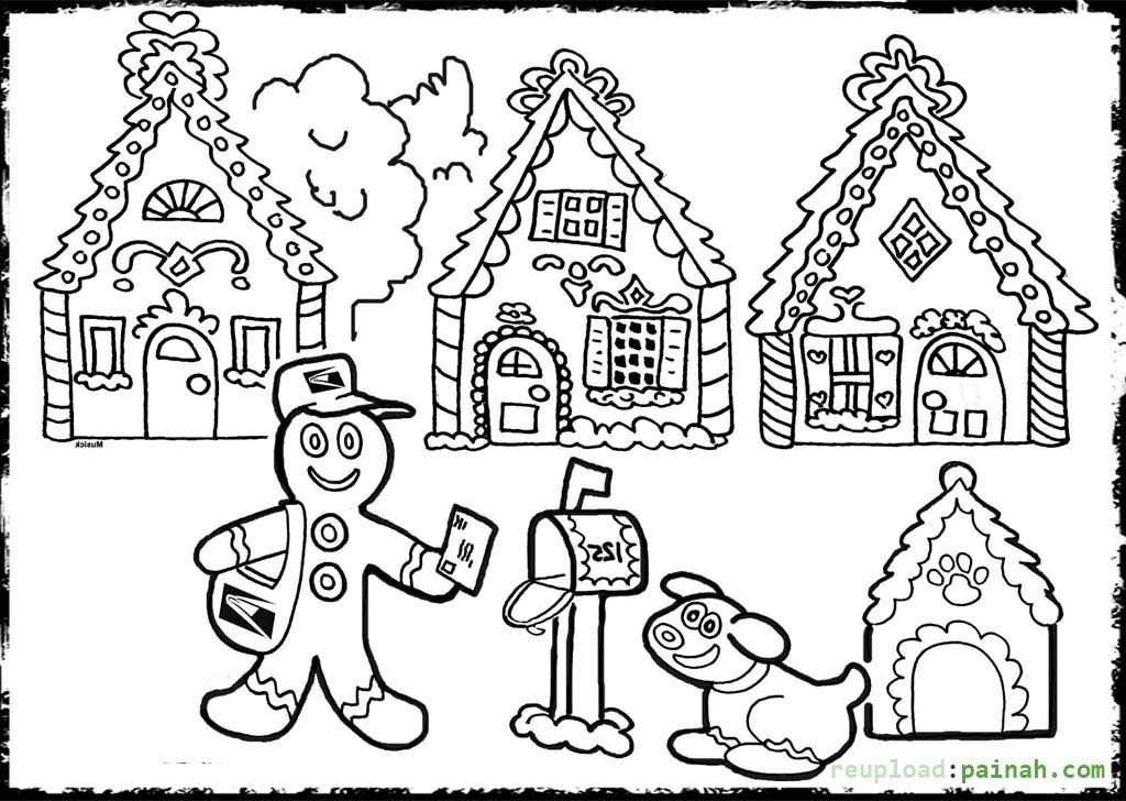 1024x728 Interesting Gingerbread Man House Coloring Pages Gallery Diy