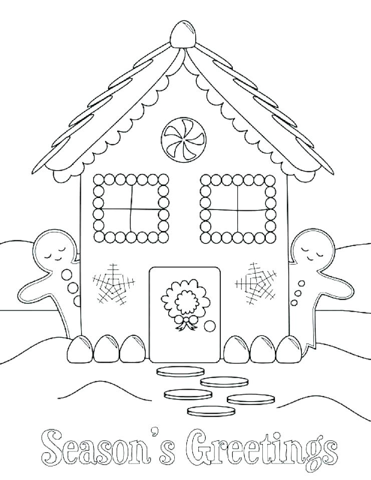 741x960 Gingerbread House Coloring Page Icontent