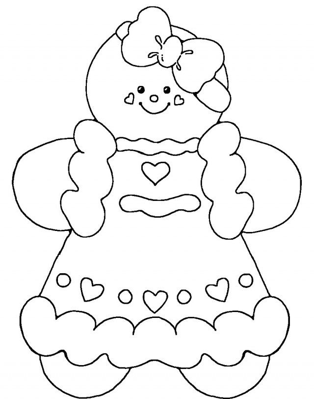 640x812 Cute Gingerbread Man Coloring Pages Candy Christmas