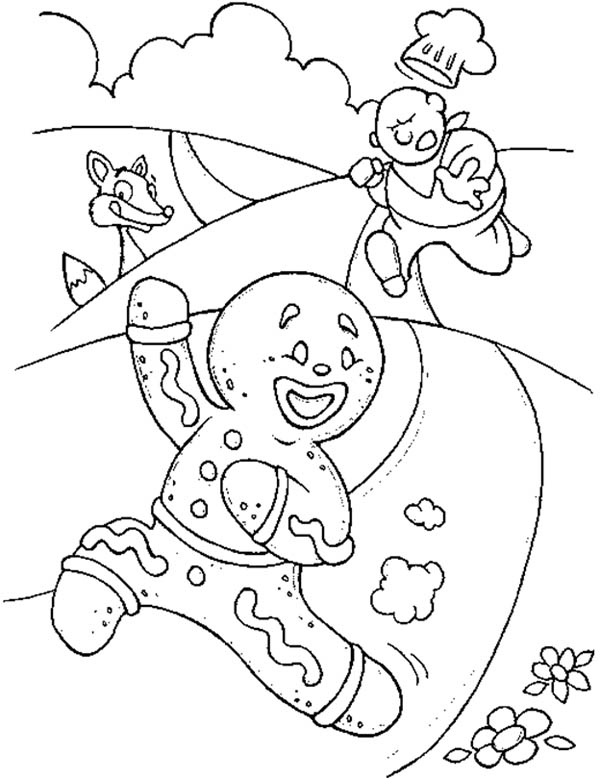 600x779 Mr Gingerbread Men Running Away From The Chef Coloring Page Kids