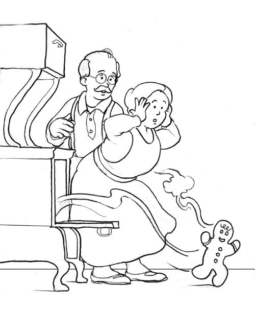 500x650 Running Gingerbread Man Coloring Page