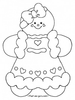 254x338 Shining Gingerbread Girl Printable Coloring Page Free Pages
