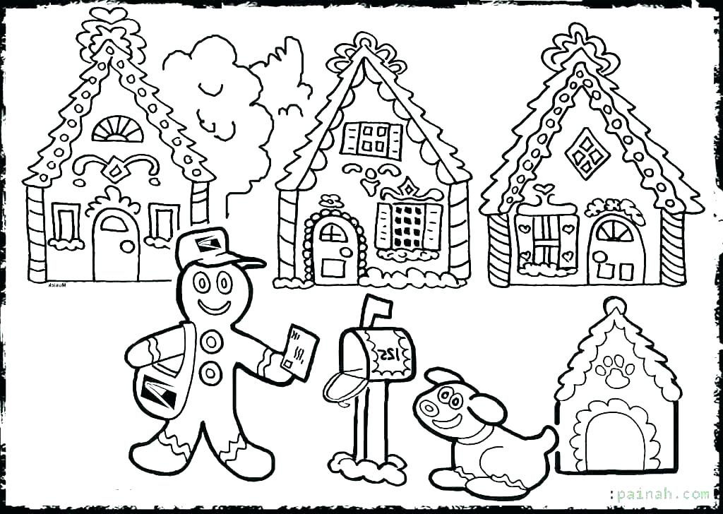 1024x728 Gingerbread Coloring Pages Coloring Haunted House Coloring Pages