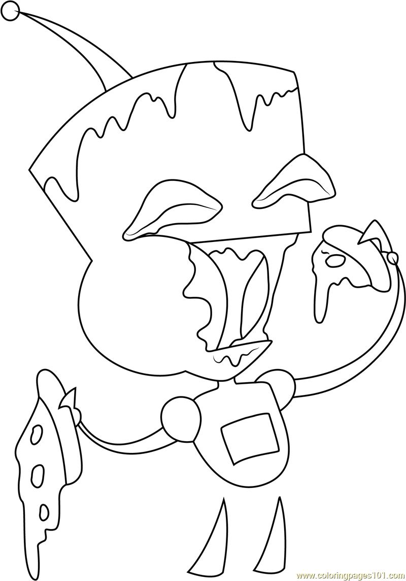 800x1143 Gir Eating Pizza Coloring Page