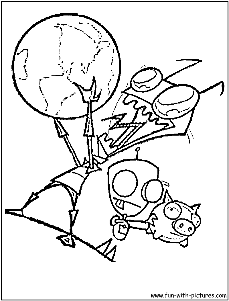 800x1050 Invader Zim Gir Coloring Page Nickelodeon Coloring Pages