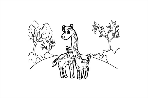 Giraffe Cartoon Coloring Pages